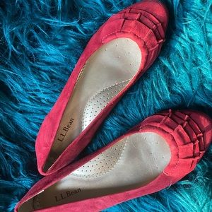 Red Suede Ruffled Flats